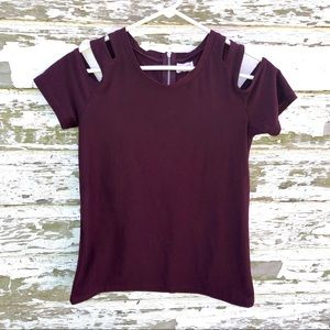 Sleeve and Shoulder Cut-Out Plum Shirt